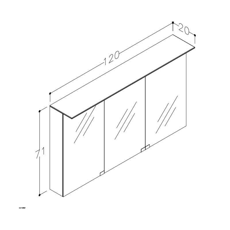 Stregtegning Spejl Mc3dm 120 70 Xx