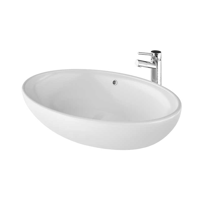 Uovo Fritstående Porcelænsvask Hvid